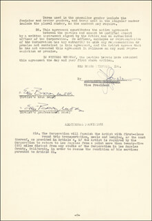 Autographs: ETHEL BARRYMORE - CONTRACT DOUBLE SIGNED 03/06/1947