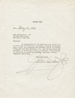 JOAN CRAWFORD - DOCUMENT SIGNED 05/16/1952