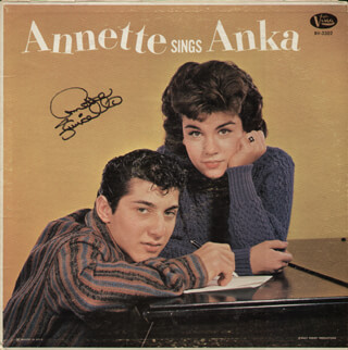 ANNETTE FUNICELLO - RECORD ALBUM COVER SIGNED