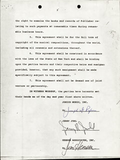 JIM HENSON - CONTRACT SIGNED 07/01/1970 CO-SIGNED BY: JOE RAPOSO, JERRY R. JUHL