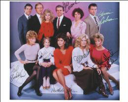 KNOTS LANDING TV CAST - AUTOGRAPHED SIGNED PHOTOGRAPH CO-SIGNED BY: WILLIAM DEVANE, KEVIN DOBSON, JOAN VAN ARK, MICHELE LEE, JULIE HARRIS, LISA HARTMAN, TED SHACKELFORD