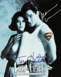 LOIS & CLARK T.V. CAST - AUTOGRAPHED SIGNED PHOTOGRAPH CO-SIGNED BY: DEAN CAIN, TERI HATCHER