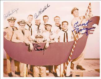 McHALE'S NAVY TV CAST - AUTOGRAPHED SIGNED PHOTOGRAPH CO-SIGNED BY: TIM CONWAY, ERNEST BORGNINE, CARL BALLANTINE, BOB HASTINGS