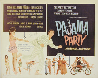 PAJAMA PARTY MOVIE CAST - AUTOGRAPHED SIGNED POSTER CO-SIGNED BY: ANNETTE FUNICELLO, TOMMY KIRK