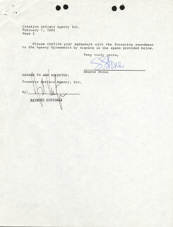 SHARON STONE - DOCUMENT SIGNED 02/01/1986