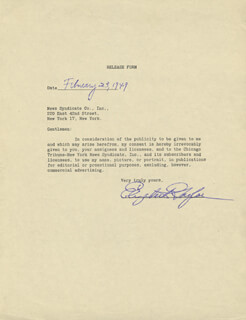 ELIZABETH LIZ TAYLOR - DOCUMENT SIGNED 02/23/1949