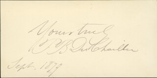 PAUL B. DU CHAILLU - AUTOGRAPH SENTIMENT SIGNED 9/1879