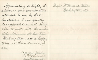 GENERAL PHILIP H. SHERIDAN - MANUSCRIPT LETTER SIGNED 12/29/1884
