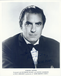 TYRONE POWER - AUTOGRAPHED INSCRIBED PHOTOGRAPH CIRCA 1953