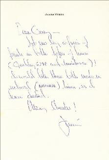 JAMIE WYETH - AUTOGRAPH LETTER SIGNED