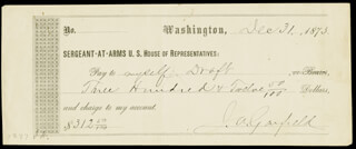 PRESIDENT JAMES A. GARFIELD - AUTOGRAPHED SIGNED CHECK 12/31/1873