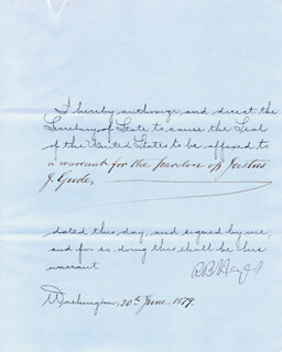 PRESIDENT RUTHERFORD B. HAYES - PRESIDENTIAL WARRANT SIGNED 06/30/1879