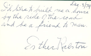 ESTHER RALSTON - AUTOGRAPH NOTE SIGNED 12/03/1979