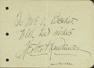 HERBERT RAWLINSON - AUTOGRAPH NOTE SIGNED CIRCA 1933