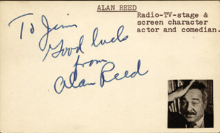 ALAN REED - AUTOGRAPH NOTE SIGNED