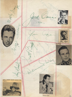 Autographs: DENNIS DAY - SIGNATURE(S) CO-SIGNED BY: JACK OWENS, WALLY GEORGE, JOHNNY GRANT, ALEX COOPER, JIM HAWTHORNE, PHILLIP REED, AL JARVIS, DENNIS MORGAN, JOHN AGAR, SCOTT BRADY