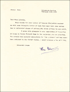 THOMAS MANN - TYPED LETTER SIGNED 02/15/1953