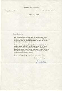 DEBBIE REYNOLDS - TYPED LETTER SIGNED 07/19/1966