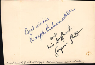 SIR RALPH RICHARDSON - AUTOGRAPH 10/15/1945