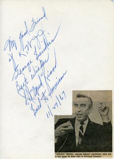L. A. SPEED RIGGS - AUTOGRAPH NOTE SIGNED 11/27/1967