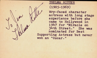 THELMA RITTER - INSCRIBED SIGNATURE CIRCA 1953