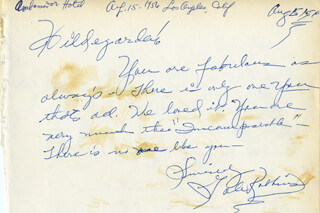 GALE ROBBINS - AUTOGRAPH NOTE SIGNED 08/15/1956