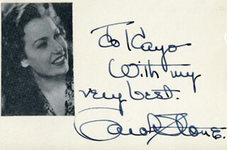 CAROL STONE - AUTOGRAPH NOTE SIGNED