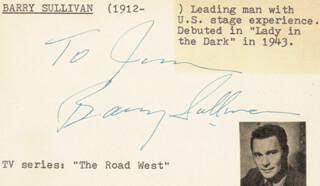 BARRY SULLIVAN - INSCRIBED SIGNATURE CIRCA 1953