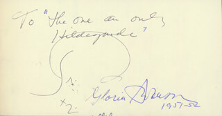 GLORIA SWANSON - INSCRIBED SIGNATURE 1952