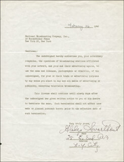 GLADYS SWARTHOUT - DOCUMENT SIGNED 02/26/1946