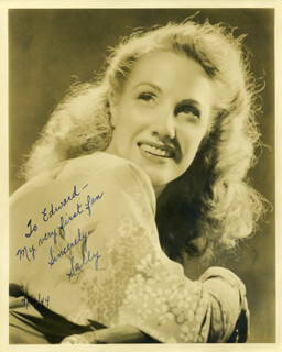SALLY SWEETLAND - AUTOGRAPHED INSCRIBED PHOTOGRAPH 04/12/1944