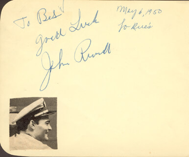 JOHN RUSSELL - AUTOGRAPH NOTE SIGNED CIRCA 1950 CO-SIGNED BY: PATRICIA MEDINA