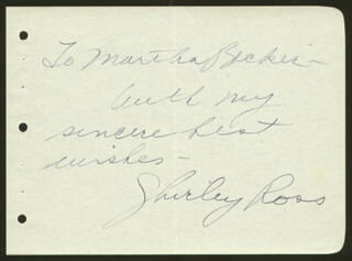 SHIRLEY ROSS - AUTOGRAPH NOTE SIGNED