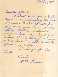 RUTH THOMAS - AUTOGRAPH LETTER SIGNED 04/14/1947