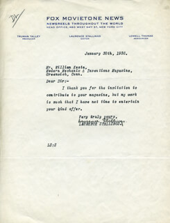 LAURENCE STALLINGS - TYPED LETTER SIGNED 01/30/1936