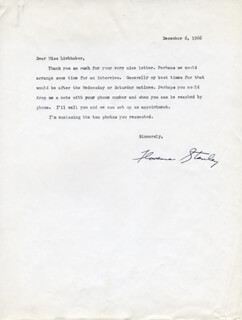 FLORENCE STANLEY - TYPED LETTER SIGNED 12/06/1966