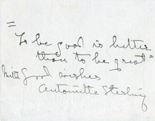 ANTOINETTE STERLING - AUTOGRAPH QUOTATION SIGNED