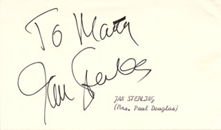 JAN STERLING - INSCRIBED SIGNATURE