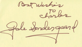 GALE SONDERGAARD - AUTOGRAPH NOTE SIGNED
