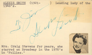 ALEXIS SMITH - INSCRIBED SIGNATURE