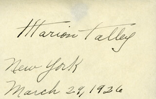 MARION TALLEY - AUTOGRAPH 03/29/1926
