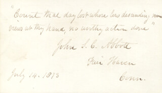 Autographs: JOHN S.C. ABBOTT - AUTOGRAPH QUOTATION SIGNED 07/14/1873