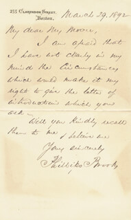 PHILLIPS BROOKS - AUTOGRAPH LETTER SIGNED 03/29/1892
