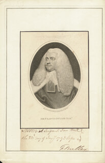 SIR FRANCIS BULLER - FRAGMENT SIGNED 01/23/1793