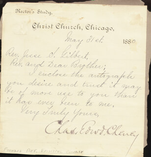 Autographs: CHARLES EDWARD CHENEY - MANUSCRIPT LETTER SIGNED 05/31/1880