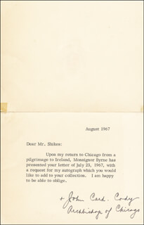 Autographs: JOHN CARDINAL CODY - TYPED LETTER SIGNED 8/1967
