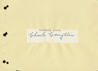Autographs: CHARLES COUGHLIN - TYPED SENTIMENT SIGNED