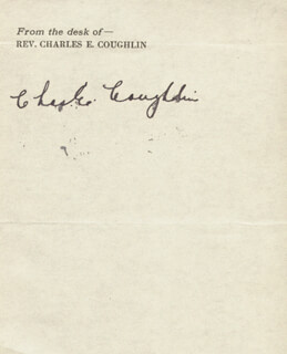 Autographs: CHARLES COUGHLIN - SIGNATURE(S)