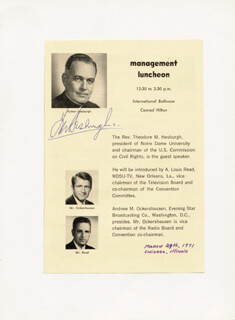 Autographs: FATHER THEODORE M. HESBURGH - PROGRAM SIGNED CIRCA 1971