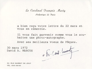 FRANCOIS CARDINAL MARTY - TYPED NOTE SIGNED 03/30/1972